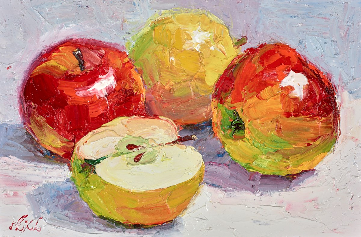 Shiny Apples V by lana okiro -  sized 9x5 inches. Available from Whitewall Galleries